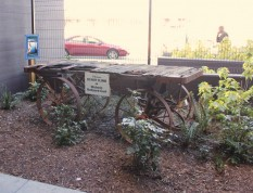 Old railroad cart echoes the area's past.
