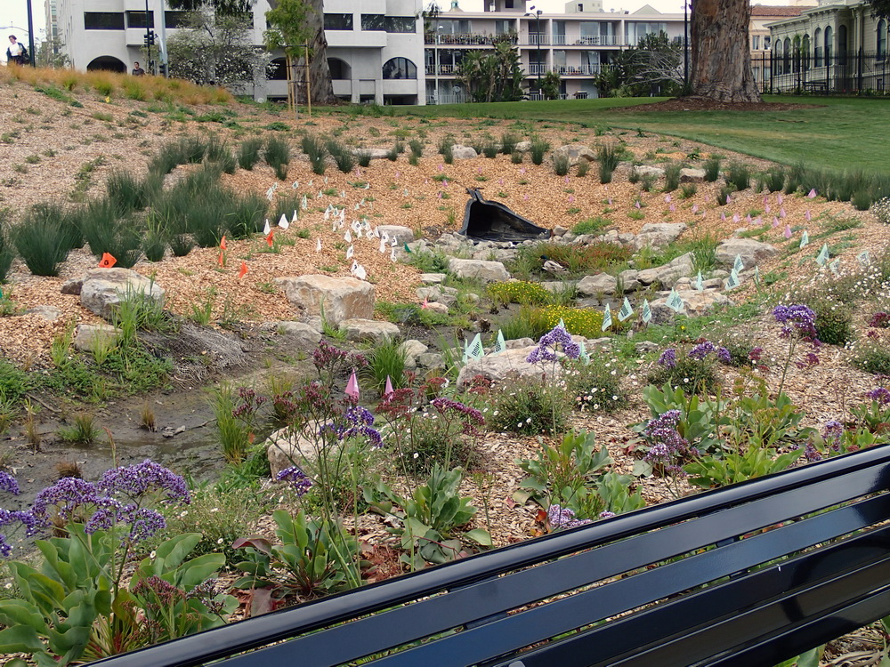 Oakland, bioretention near Camron-Stanford House, Lake Merritt