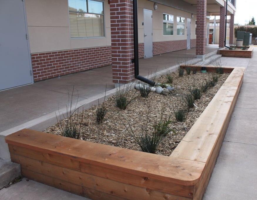 Runoff flows to planter, Fremont Christian School