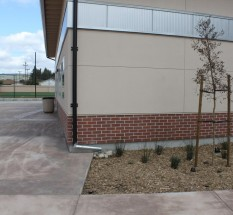 Roof runoff flows to planter beds, Fremont Christian School
